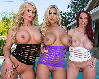 three hot girls with big boobs and wet bodies